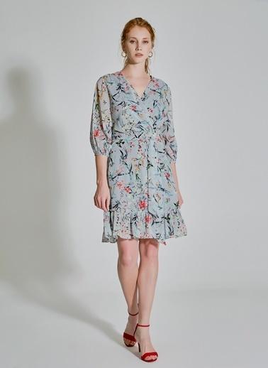 People By Fabrika Kruvaze Desenli Elbise Mavi